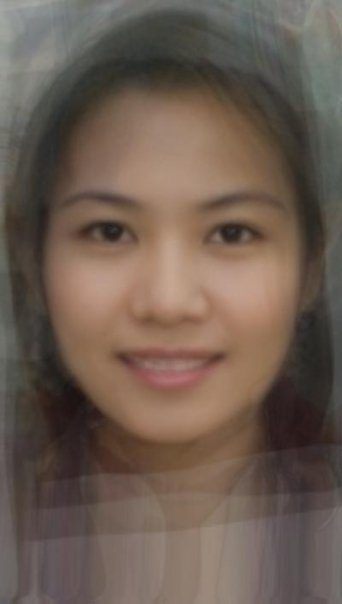 Composite image showing the average face of Thai girls